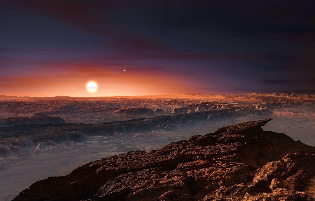 Vue d'artiste de la surface de l'exoplanète Proxima B – ESO/AP/SIPA