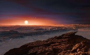 Vue d'artiste de la surface de l'exoplanète Proxima B