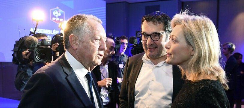 Jean-Michel Aulas, Didier Quillot, Nathalie Boy de la Tour, en mars 2017.