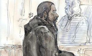Peter Cherif à l'ouverture du procès de la filière des Buttes-Chaumont, le 26 janvier 2011.
