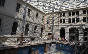 Lyon, le 14 juin 2016 Visite de chantier du Grand Hôtel-Dieu de plein, à mi parcours. Les premiers commerces doivent ouvrir à la fin de l'année 2017. Les bureaux et logements doivent aussi être livrés pour le mois de décembre