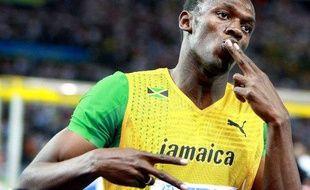 Le sprinter jamaïcain Usain Bolt, le 20 août 2009 à l'arrivée du 200m des championnats du monde de Berlin.