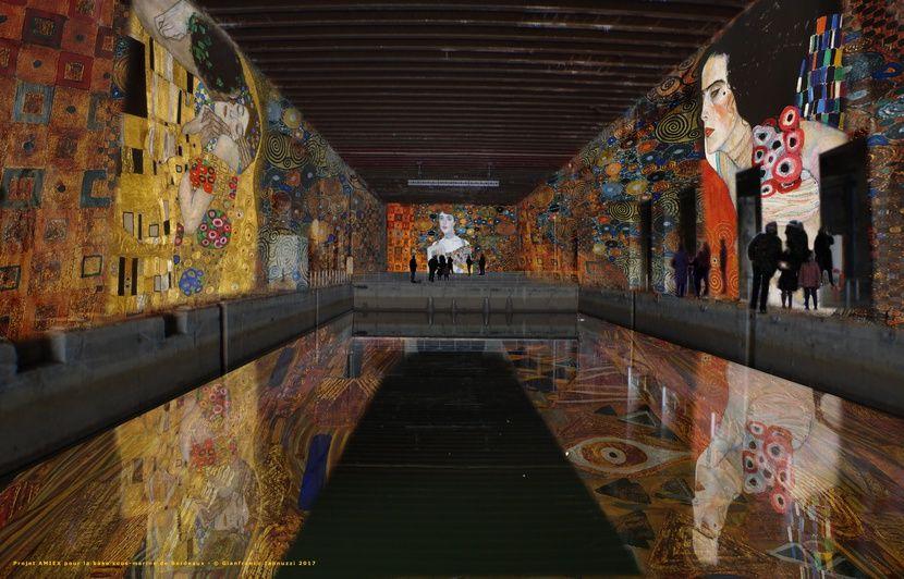 Bordeaux : Lancement des « Bassins de lumière » autour de Klimt à la base sous marine, en avril 2020