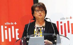 Martine Aubry, lors des vœux à la presse, le 18 janvier 2018.
