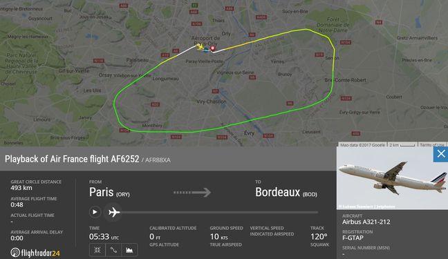 La trajectoire du vol AF6252 d'Air France.