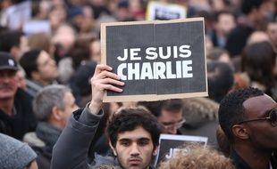 Durant le défilé en hommage aux victimes des attentats le 11 janvier 2015, à Paris.