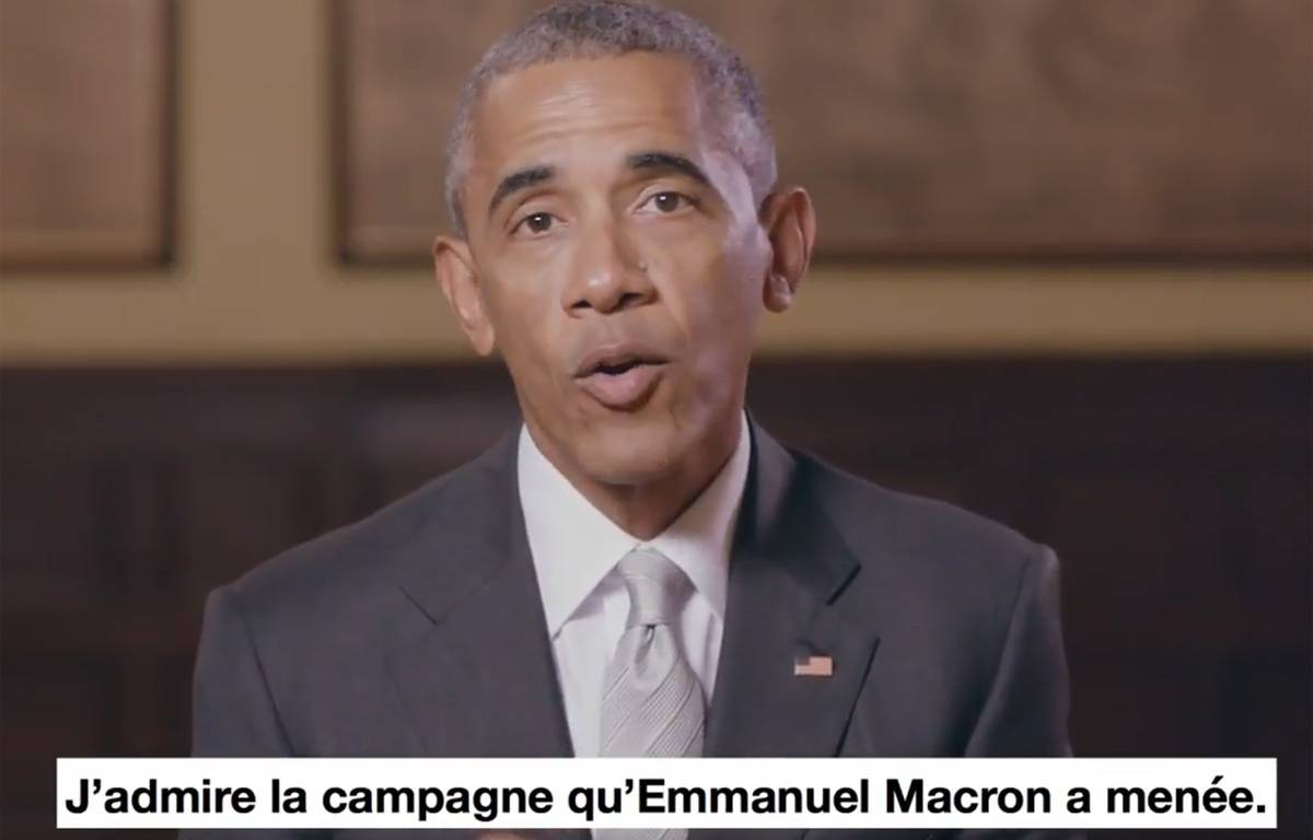 Capture d'écran de la vidéo de soutien de Barack Obama à Emmanuel Macron.  – Capture d'écranTwitter