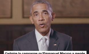 Capture d'écran de la vidéo de soutien de Barack Obama à Emmanuel Macron.