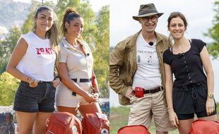 Les deux binômes finalistes de la saison 14 de Pékin Express: Rose-Marie et Cinzia, Christophe et Claire.