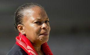 La ministre de la Justice Christiane Taubira quitte l'Elysée, le 9 septembre 2015 à Paris