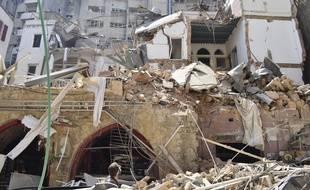 Des bâtiments détruits par la double explosion à Beyrouth.