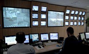 Centre de supervision vidéo de Strasbourg. Le 08 11 2007