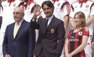 Pippo Inzaghi (au centre), et Barbara Berlusconi, à droite, en juillet 2014