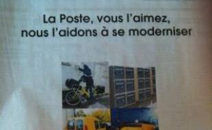 La campagne de publicité du gouvernement pour le changement de statut de La Poste.