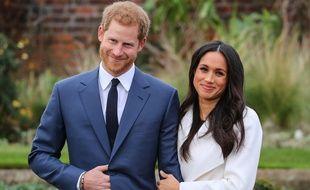 Le prince Harry et Meghan Markle lors de leur première apparition devant la  presse après l