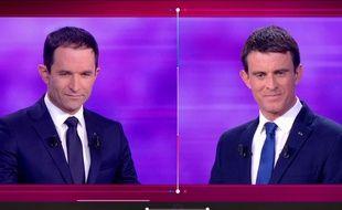 Benoît Hamon et Manuel Valls lors du dernier débat de la primaire à gauche.