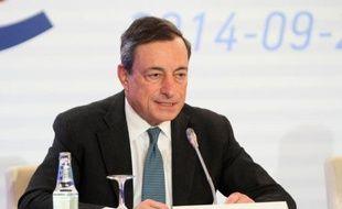 Le président de la BCE, Mario Draghi, lors d'une conférence de presse à Vilnius, en Lituanie, le 25 septembre 2014