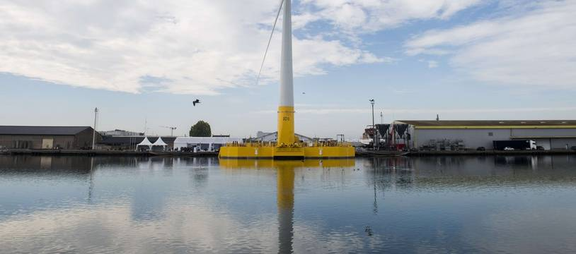 La première éolienne offshore française à Saint-Nazaire, le 13 octobre 2018.