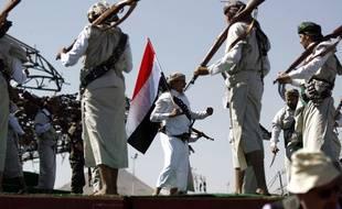 Rassemblement des Yéménites à Sanaa, le 26 mars 2018.