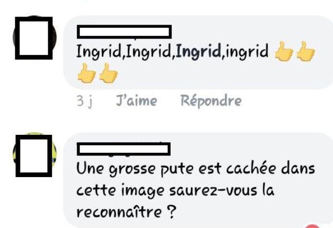 Une capture d'écran des insultes et menaces reçues par Ingrid Levavasseur sur les réseaux sociaux.