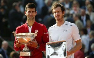 Novak Djokovic et Andy Murray lors de la finale de Roland-Garros remportée par le Serbe, le 5 juin 2016.