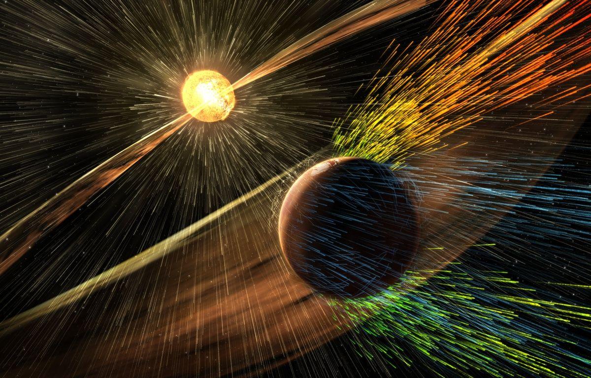 Vue d'artiste de l'interaction des vents solaires avec l'atmosphère de la planète Mars. – NASA/GSFC