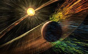 Vue d'artiste de l'interaction des vents solaires avec l'atmosphère de la planète Mars.