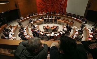 Illustration d'un hémicycle, ici à Strasbourg en 2014.