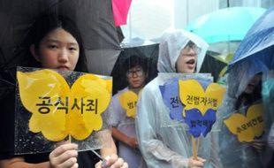 """Manifestation pour demander les excuses officielles de Tokyo pour les """"femmes de réconfort"""", devant l'ambassade du Japon à Séoul, le 15 août 2012"""