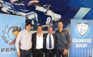Les clubs de Colomiers rugby et du Fenix Toulouse handball officialisent leur partenariat avec David Skrela (Colomiers), Philippe Dallard (Fenix), Alain Carré (Colomiers) et Jérôme Fernandez (Fenix).