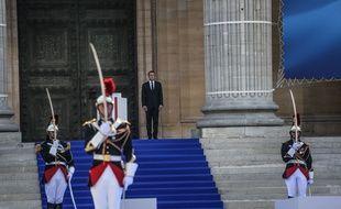 Emmanuel Macron au Panthéon lors de la cérémonie pour l'entrée de Simone Veil, en 2018. (archives)
