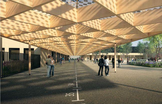 Le projet de restructuration du collège de Langon (Gironde).