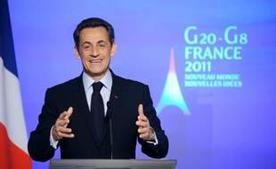 Nicolas Sarkozy lors d'une conférence de presse à Paris le 24 janvier 2011.