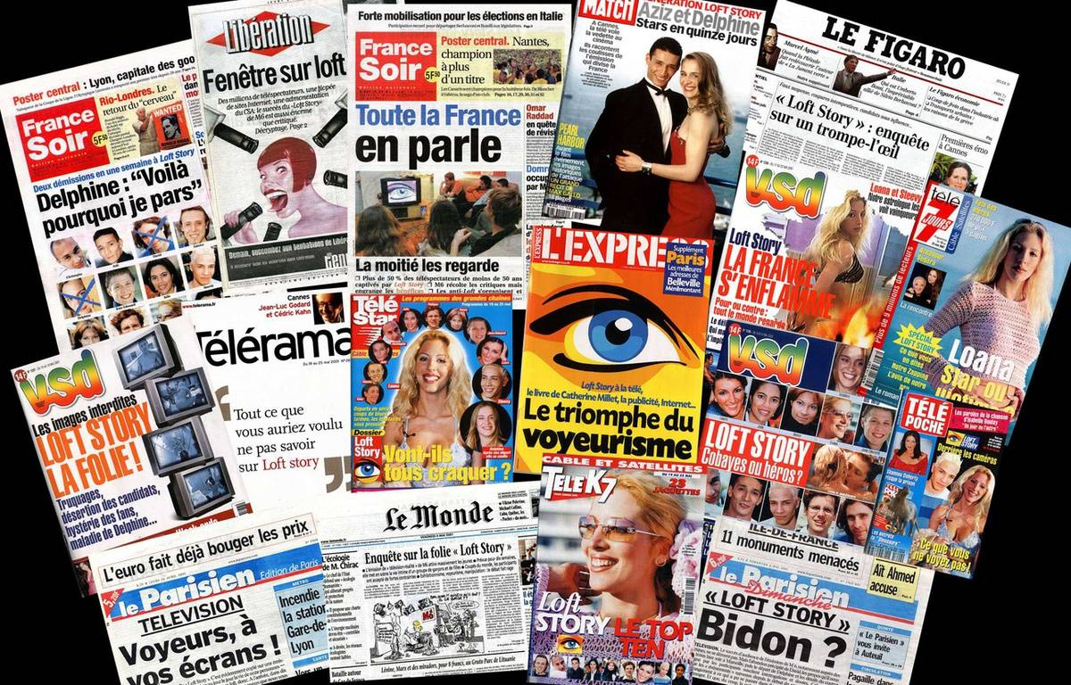 Des unes de journaux et magazine français consacrées à «Loft Story» en 2001. – Sipa