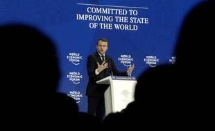 Emmanuel Macron au Forum économique mondial de Davos, le 24 janvier 2018.