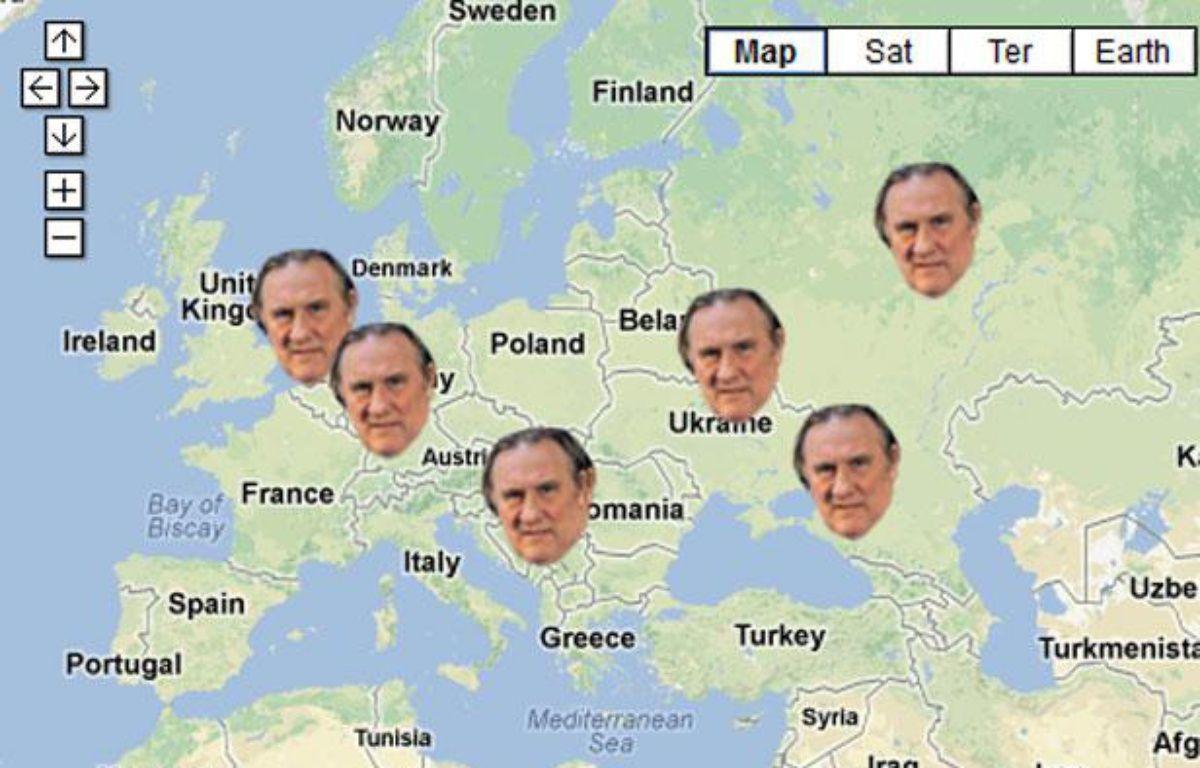 Capture d'écran de la carte retraçant l'itinéraire de Gérard Depardieu depuis l'annonce de son départ de France, début décembre. – 20 MINUTES