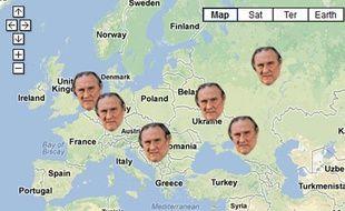 Capture d'écran de la carte retraçant l'itinéraire de Gérard Depardieu depuis l'annonce de son départ de France, début décembre.