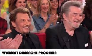Johnny Hallyday et Eddy Mitchell sur le plateau de «Vivement dimanche».