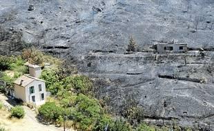 Les ravages causés par l'incendie de Carpiagne.