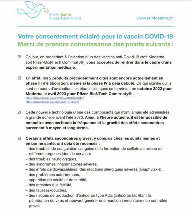 Un faux formulaire suisse de consentement éclairé pour la vaccination anti-Covid circule.
