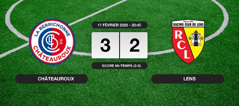 Ligue 2, 25ème journée: Châteauroux s'impose à domicile 3-2 contre le RC Lens