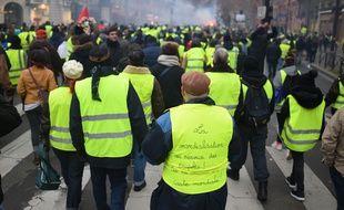 Illustration de l'acte 8 des gilets jaunes, ici le 5 janvier 2019 à Paris.