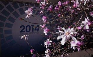 Le logo des réunions annuelles de printemps du Fonds monétaire internaitonal et de la Banque mondiale le 5 avril 2014 à Washington