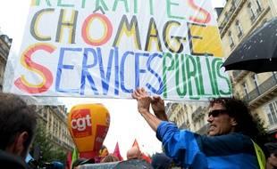 Lors d'une précédente mobilisation en faveur des droits sociaux, à Paris, le 24 septembre 2019.