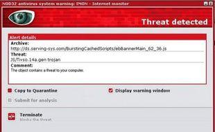 Alerte de l'antivirus Nod32, sous Windows.