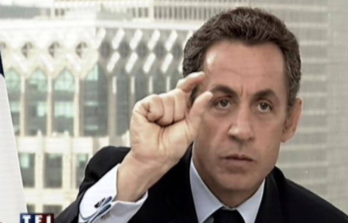 Nicolas Sarkozy lors de son intervention aux journaux télévisés de TF1 et de France 2, mercredi 23 septembre. – AFP PHOTO TF1