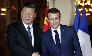 Les présidents chinois et français Xi Jinping et Emmanuel Macron à Beaulieu-sur-Mer le 24 mars 2019