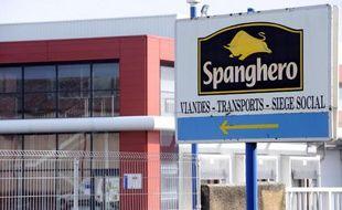 L'entrée de l'usine Spanghero de Castelnaudary, le 10 février 2013