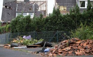 Une maison dévastée par des vents violents en Allemagne, le 17 mai 2018.