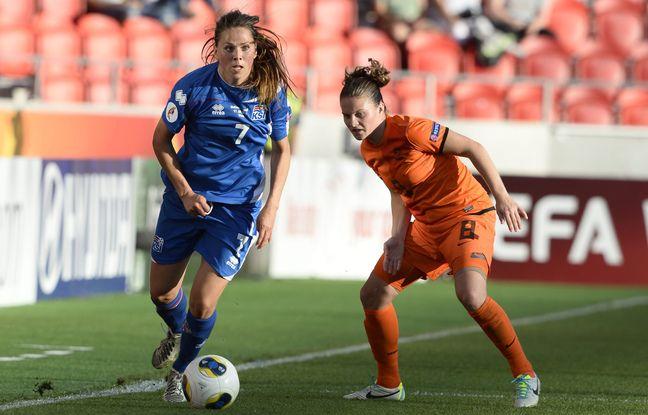 Ici à l'Euro 2013 contre les Pays-Bas, Sara Björk Gunnarsdottir vient de devenir la joueuse la plus capée de l'histoire de la sélection islandaise.